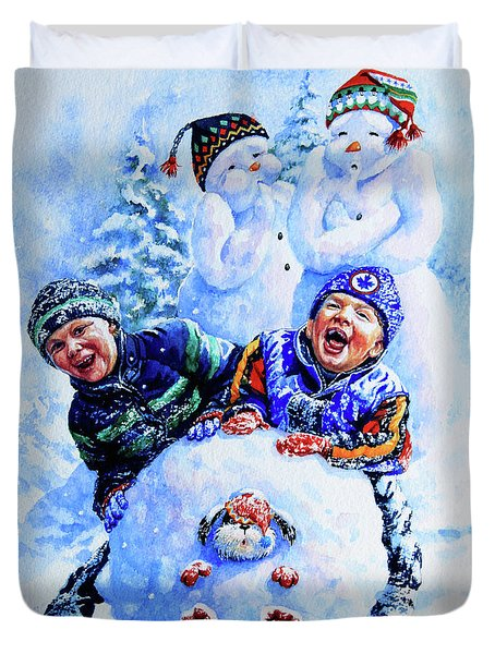 Duvet Cover featuring the painting Snowmen by Hanne Lore Koehler