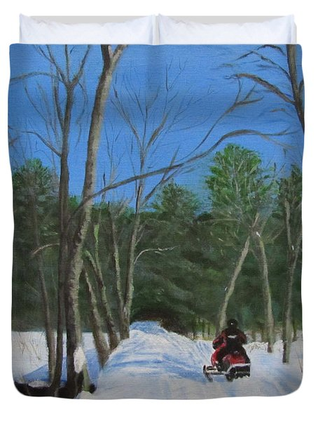 Duvet Cover featuring the painting Snowmobile On Trail by Linda Feinberg
