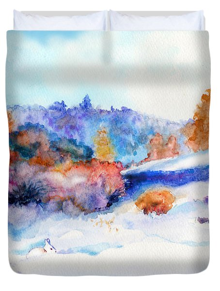 Snowshoe Day Duvet Cover by C Sitton