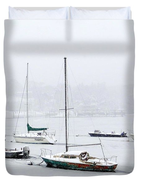 Snowstorm On Harbor Duvet Cover by Ed Weidman