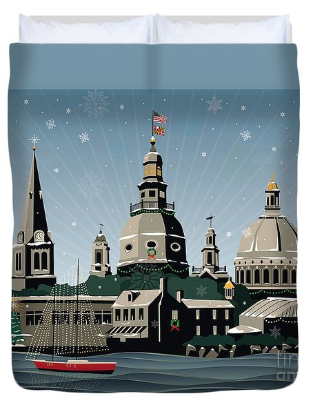 Snowy Annapolis Holiday Duvet Cover