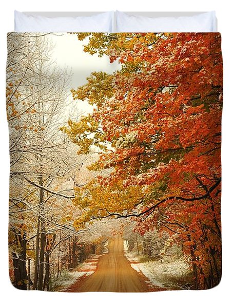 Snowy Autumn Road Duvet Cover