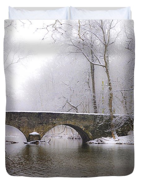Snowy Bells Mill Road Bridge Duvet Cover by Bill Cannon