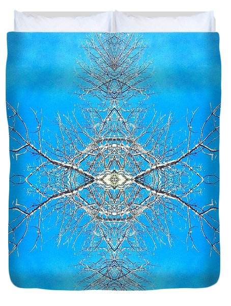Duvet Cover featuring the photograph Snowy Branches In The Sky Abstract Art Photo by Marianne Dow