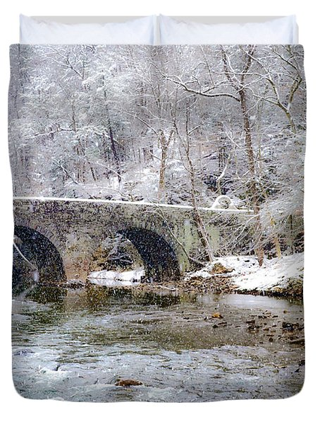 Snowy Bridge Along The Wissahickon Duvet Cover by Bill Cannon