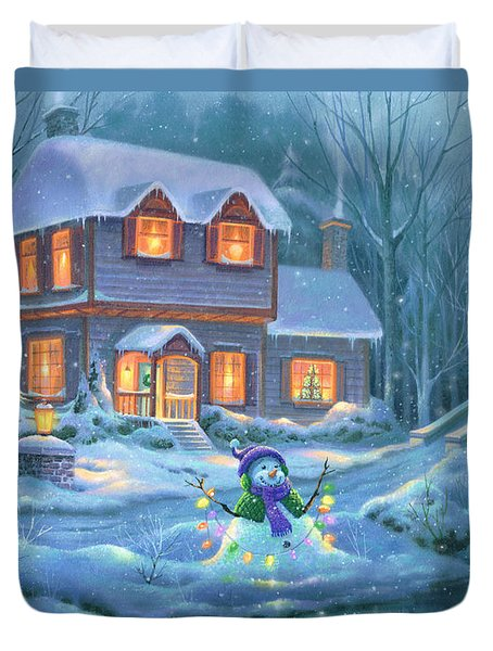 Duvet Cover featuring the painting Snowy Bright Night by Michael Humphries