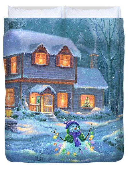 Snowy Bright Night Duvet Cover