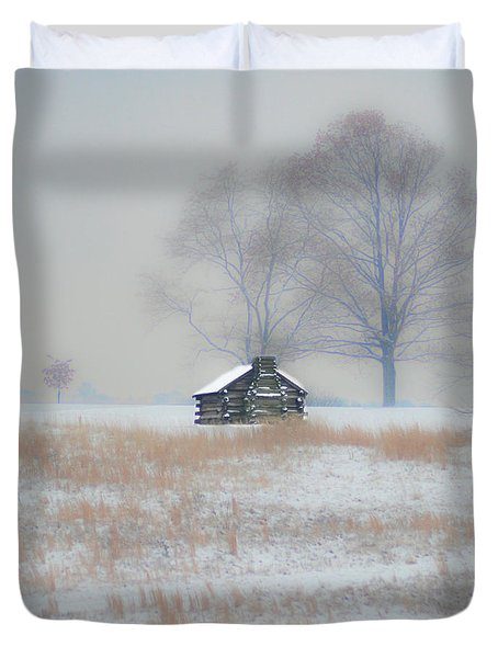 Snowy Cabin At Valley Forge Duvet Cover by Bill Cannon