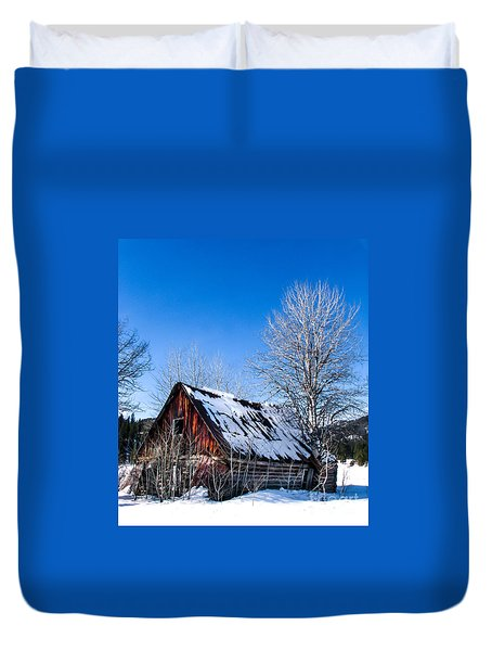 Snowy Cabin Duvet Cover by Robert Bales