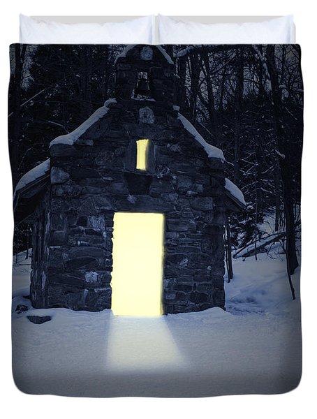Snowy Chapel At Night Duvet Cover