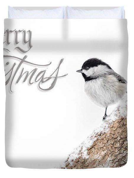 Snowy Chickadee Christmas Card Duvet Cover