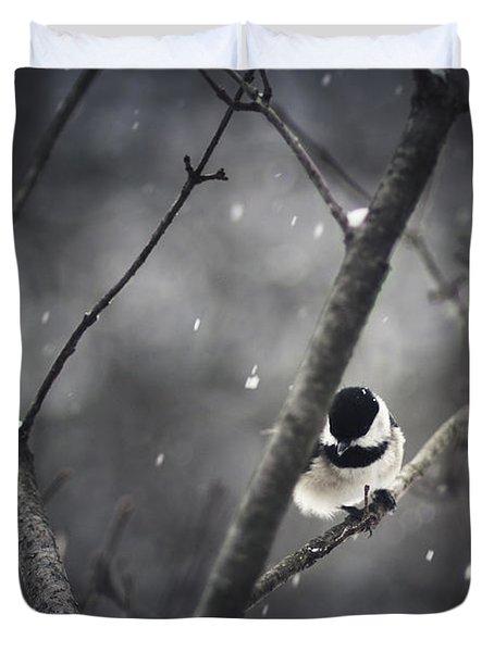 Snowy Chickadee Duvet Cover