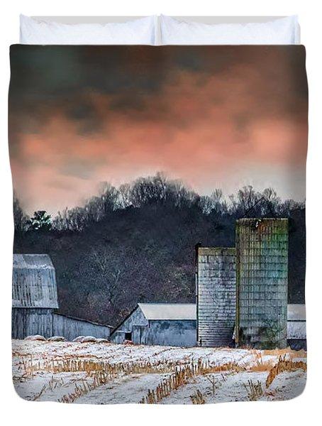 Snowy Cornfield Duvet Cover