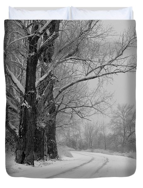 Snowy Country Road - Black And White Duvet Cover by Carol Groenen