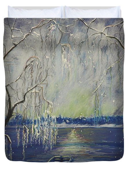 Snowy Day At The Lake Duvet Cover