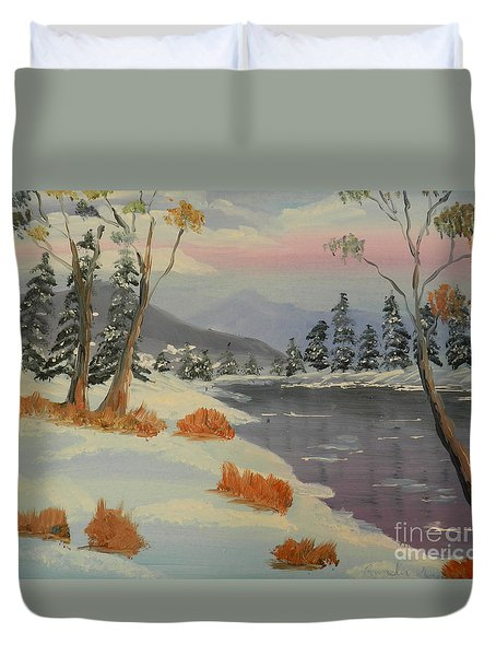 Snowy Day In Europe Duvet Cover by Pamela  Meredith