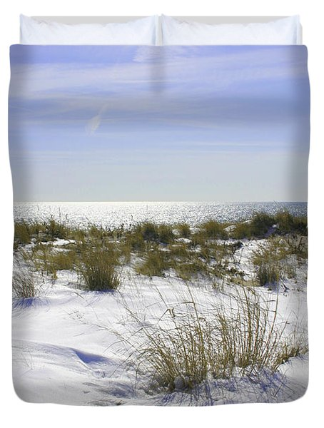 Duvet Cover featuring the photograph Snowy Dunes by Karen Silvestri