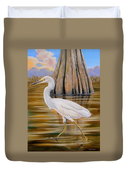 Duvet Cover featuring the painting Snowy Egret And Cypress Tree by Phyllis Beiser