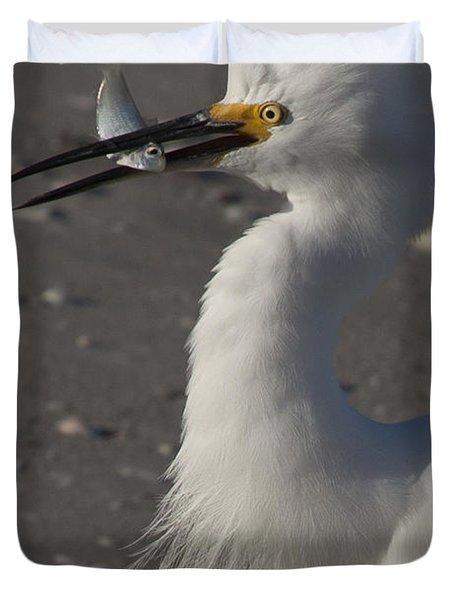 Snowy Egret Fishing Duvet Cover