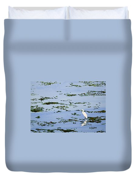 Snowy Egret Duvet Cover by Mike Robles