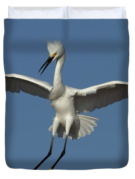 Duvet Cover featuring the photograph Snowy Egret Photo by Meg Rousher