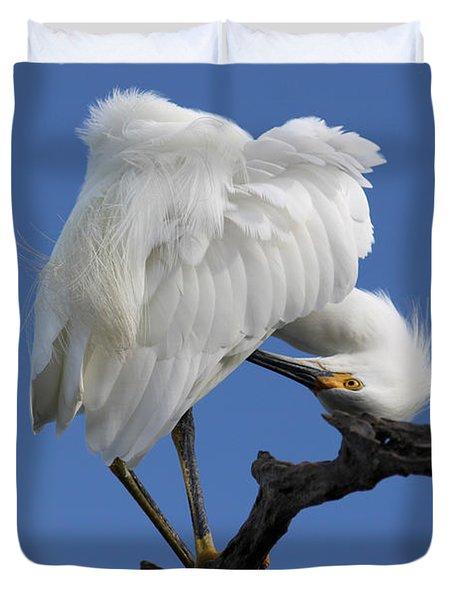 Duvet Cover featuring the photograph Snowy Egret Photograph by Meg Rousher