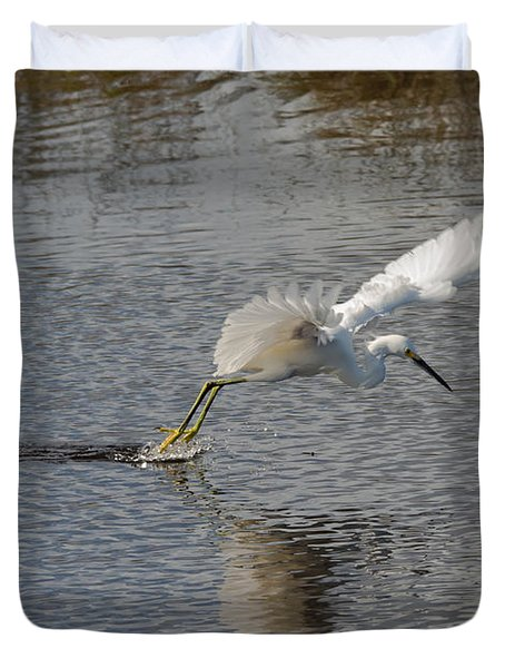 Duvet Cover featuring the photograph Snowy Egret Wind Sailing by John M Bailey