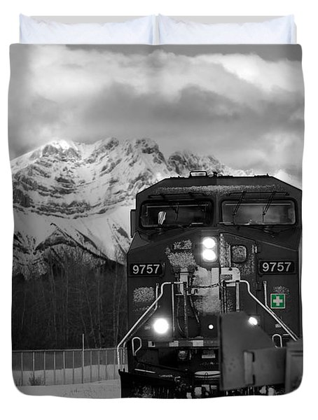 Snowy Engine Through The Rockies Duvet Cover by Lisa Knechtel