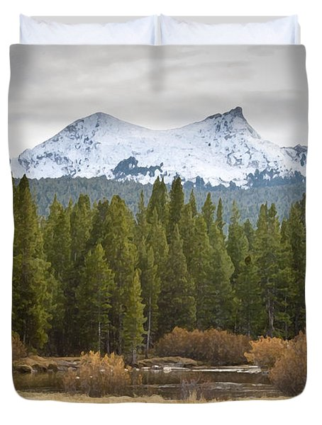Duvet Cover featuring the photograph Snowy Fall In Yosemite by David Millenheft
