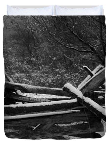Snowy Fence Duvet Cover by Michael Porchik