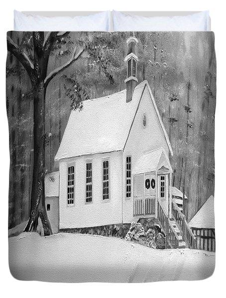 Snowy Gates Chapel -white Church - Portrait View Duvet Cover