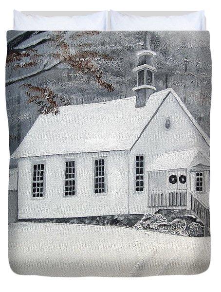 Snowy Gates Chapel  -little White Church - Ellijay Duvet Cover