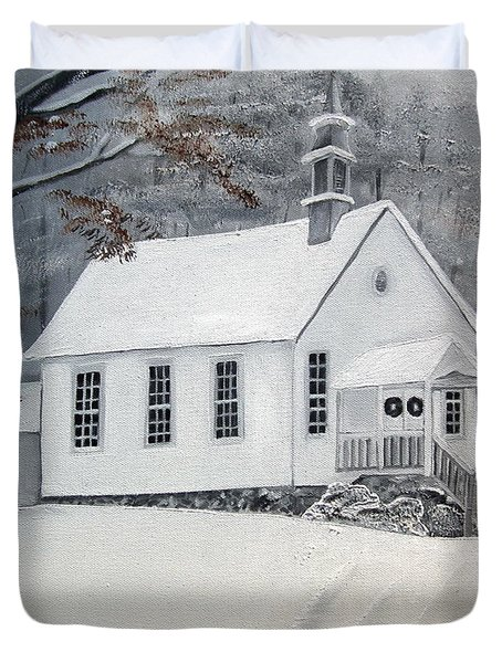 Snowy Gates Chapel  -little White Church - Ellijay Duvet Cover