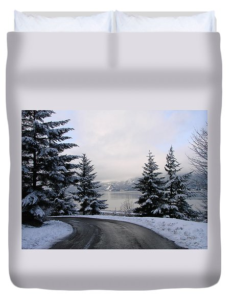 Duvet Cover featuring the photograph Snowy Gorge by Athena Mckinzie