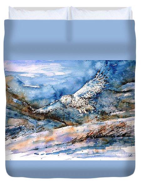 Snowy Guard Duvet Cover by Zaira Dzhaubaeva