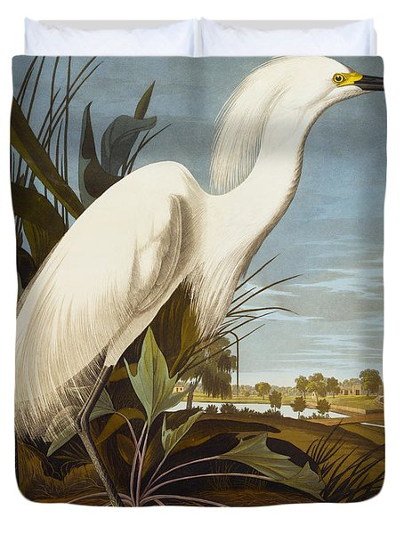 Snowy Heron Or White Egret Duvet Cover by John James Audubon