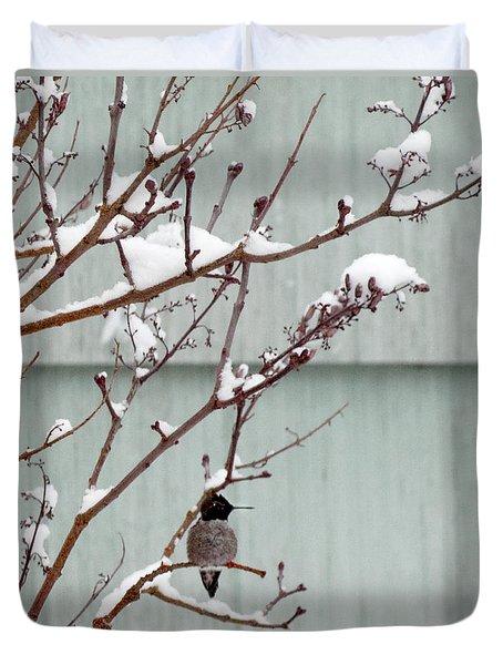 Duvet Cover featuring the photograph Snowy Hummingbird by Victoria Harrington