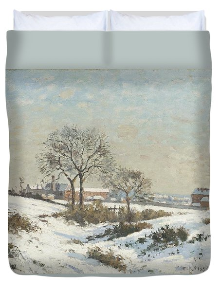 Snowy Landscape At South Norwood Duvet Cover by Camile Pissarro