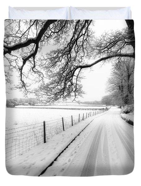 Snowy Lane Duvet Cover by Adrian Evans