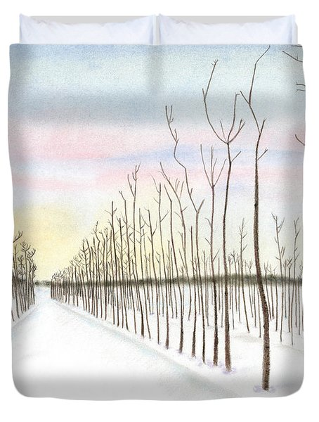 Duvet Cover featuring the drawing Snowy Lane by Arlene Crafton