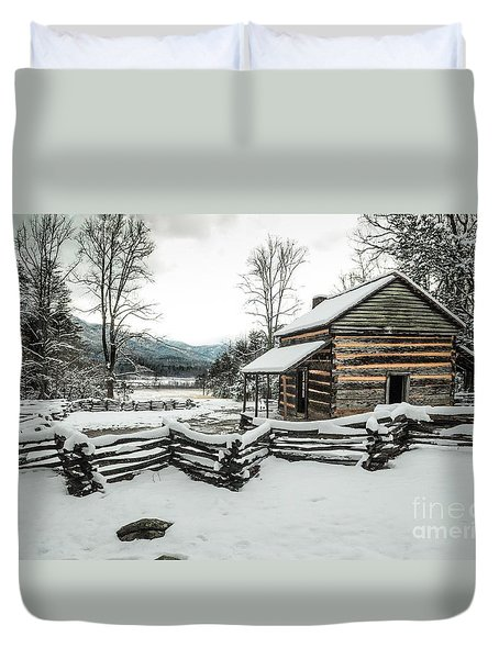 Duvet Cover featuring the photograph Snowy Log Cabin by Debbie Green
