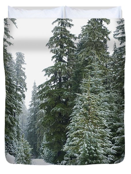 Snowy Mount Hood Forest Duvet Cover by Charmian Vistaunet