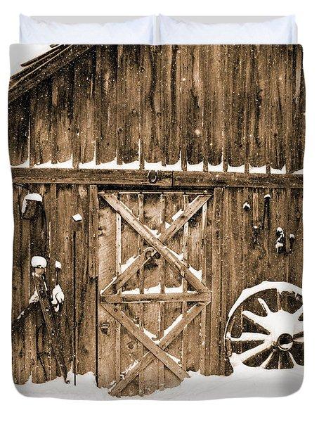 Snowy Old Barn Duvet Cover
