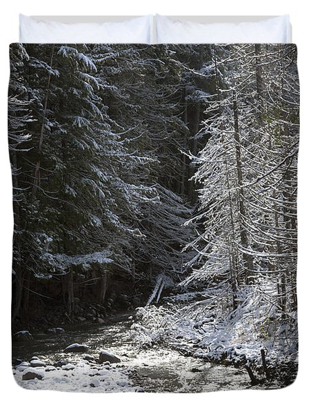 Snowy Oregon Stream Duvet Cover by Peter French