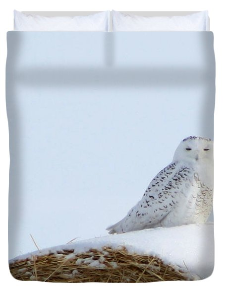 Duvet Cover featuring the photograph Snowy Owl by Alyce Taylor