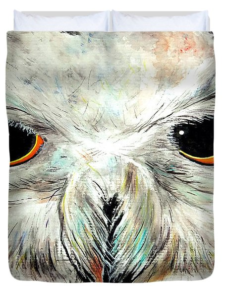 Snowy Owl - Female - Close Up Duvet Cover by Daniel Janda