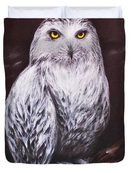 Duvet Cover featuring the drawing Snowy Owl In The Night by Patricia Lintner