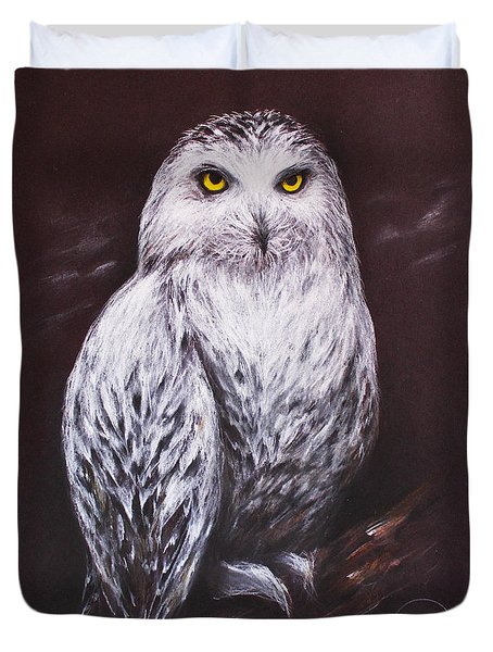 Snowy Owl In The Night Duvet Cover by Patricia Lintner