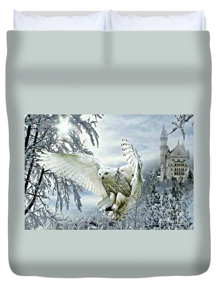 Duvet Cover featuring the mixed media Snowy Owl by Morag Bates
