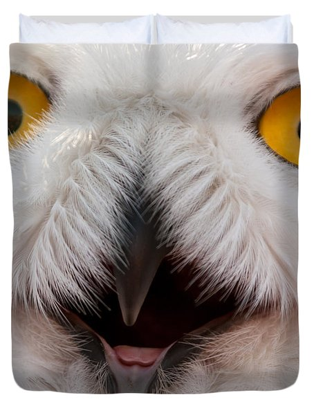Snowy Owl Up Close And Personal Duvet Cover by Laura Duhaime